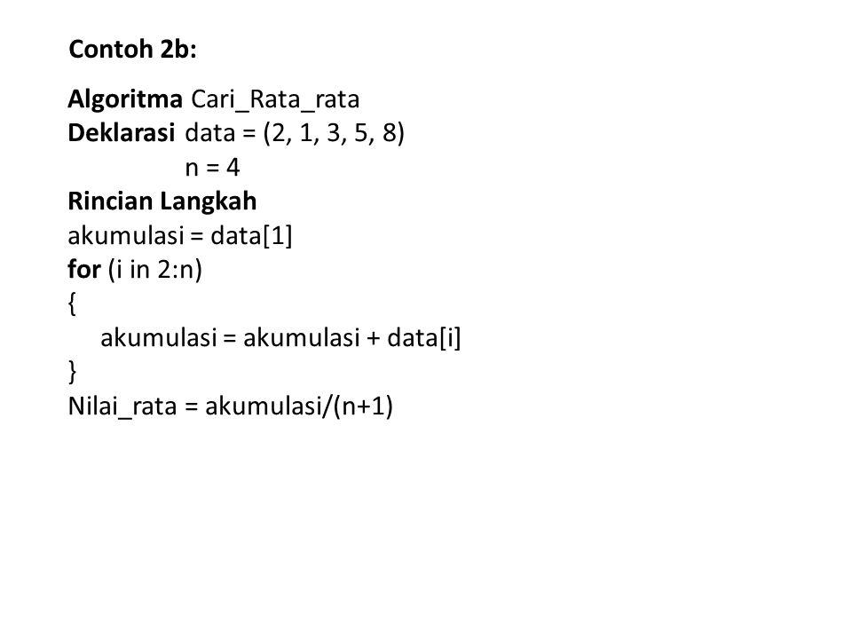 Contoh 2b: Algoritma Cari_Rata_rata. Deklarasi data = (2, 1, 3, 5, 8) n = 4. Rincian Langkah. akumulasi = data[1]